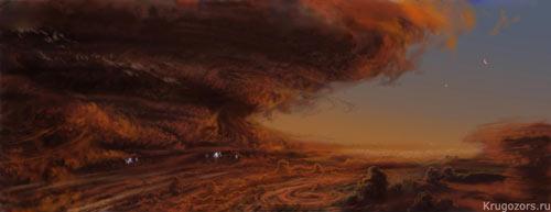 Атмосфера Юпитера. Рисунок художника.