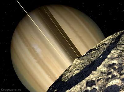 Вид с Мимаса на Сатурн. Фантазия художника.