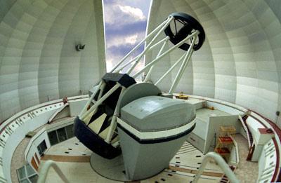 Телескоп БТА-6. Вид внутри башни.