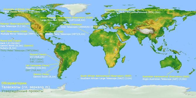 Карта мира. Расположение самых больших телескопов.