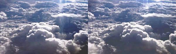 Стереофото - облака с самолёта.