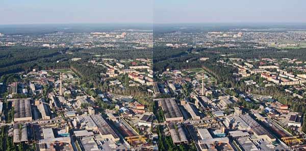 вид на город с параплана. стереофотография.