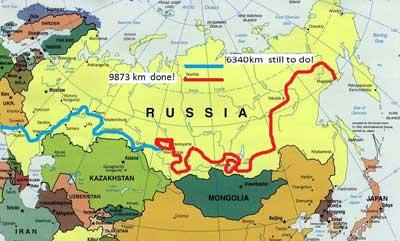 Клементе Гонсалес автостопом через всю Россию. Карта.