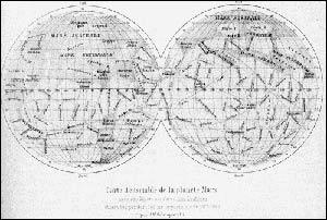 марсианские акналы. карта скиапарелли