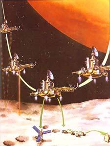 """КА """"Фобос-2"""" над поверхностью спутника Марса Фобос"""